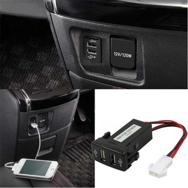 Car USB Socket 2A Double Charging Jack For Honda And Toyota