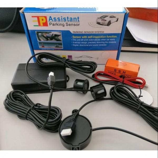Car Backup Reverse Assistant System Buzzer Alarm Kit With 4 Black Rear Parking Sensor