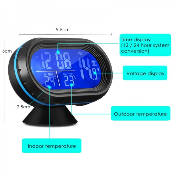 Car Watch Digital Thermometer Voltage Meter Luminous Clock 4 In 1 VST-7009V