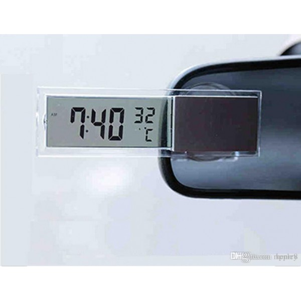 Car Digital Lcd Clock With Thermometer 2 In 1