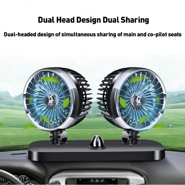 CF Car Double Head Fan 12V