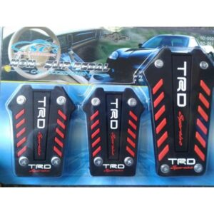 Universal TRD Non Slip Manual Brake Gas Clutch Racing Pedal Pads Cover Set Black and Red