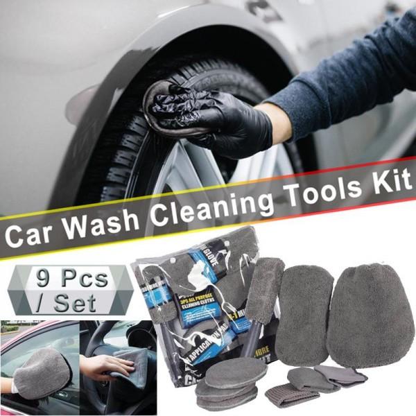 9 Pcs Microfiber Car Cleaning Kit