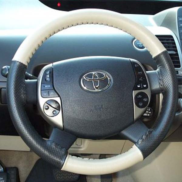 Stitching Steering Cover Black And Baige Pure Leather