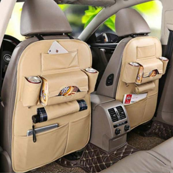 Back Seat Organizer in Leather Baige