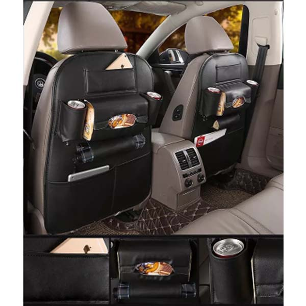 Back Seat Organizer in Leather Black