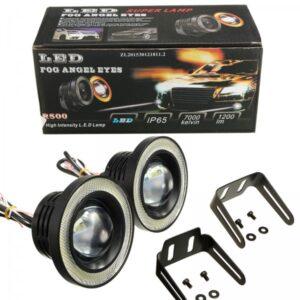 Car COB LED Angel Eyes Fog Light ring Lens Projector Halo Ring Fog Lamp 76mm white