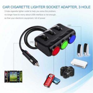 Dual USB Adapter Charger 3.1A Power Sockets 3 holes Car Cigarette Lighter Socket 12V