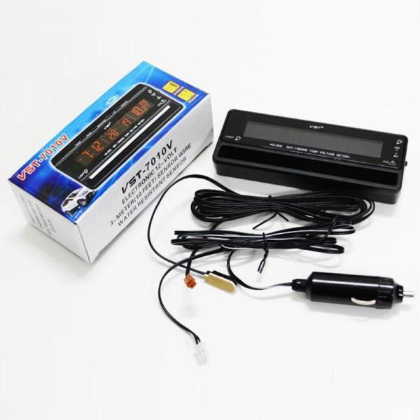Car Watch Digital Thermometer Voltage Meter Luminous Clock 4 In 1 VST-7010