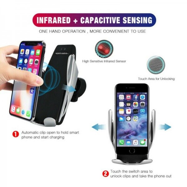 Universal Car Mobile Holder Smart Sensor Automatic Clamping Wireless S5 Car Charger Mount