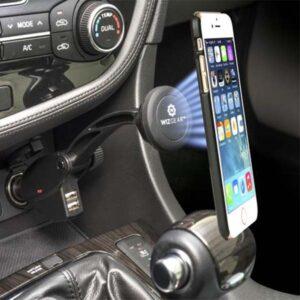 Car Charger Holder Magnatic Mobile Phone Bracket With 2 USB Socket
