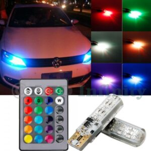 Multi Color LED Car Parking Light Bulbs With Remote Control