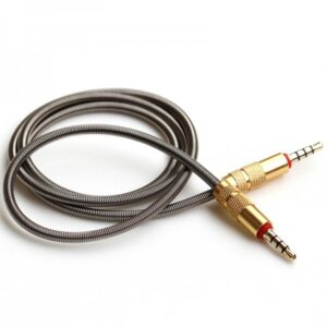 Spring Metal Aux Cable Auxiliary Cable 90 Angle Male to Male Stereo Car Audio Cable Car Audio Stereo Cable 3ft Extendable