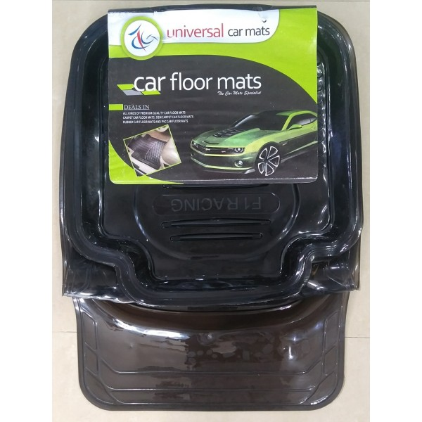 Universal Car Floor Tray Mat F1 Racing Crystal Black 5Pcs 075