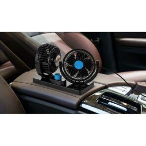 Car Auto Cooling Air Fan Dual Head DC 12V 360 Rotating Free